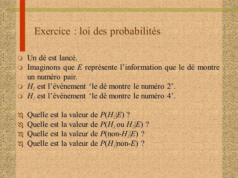 Exercice : loi des probabilités