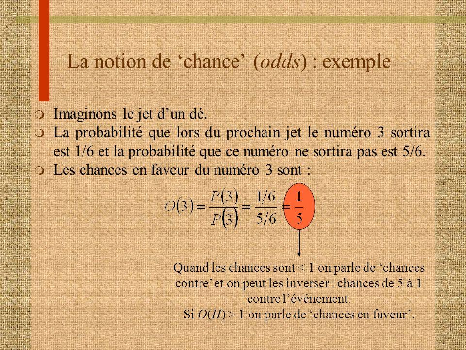 La notion de 'chance' (odds) : exemple