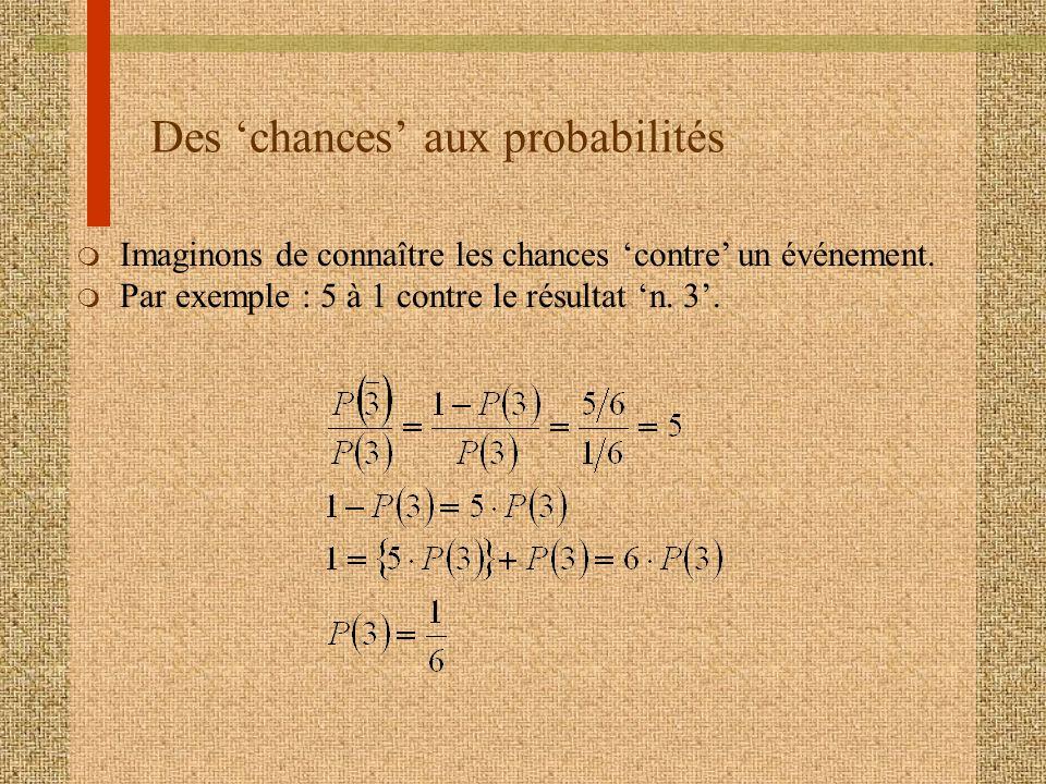 Des 'chances' aux probabilités