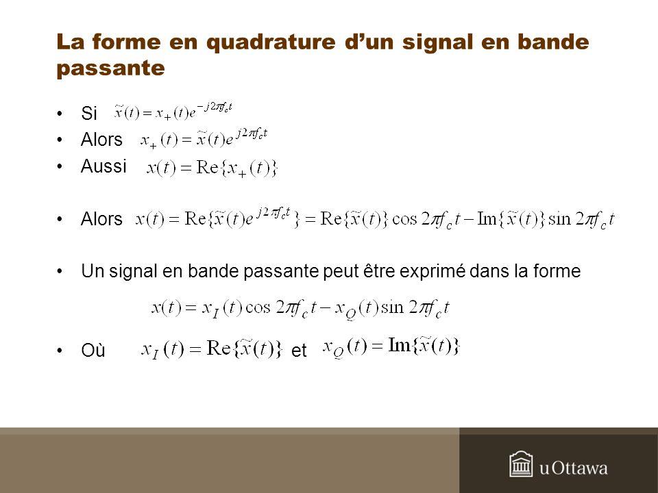 La forme en quadrature d'un signal en bande passante