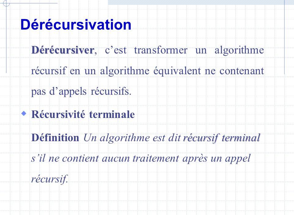 Dérécursivation Dérécursiver, c'est transformer un algorithme récursif en un algorithme équivalent ne contenant pas d'appels récursifs.