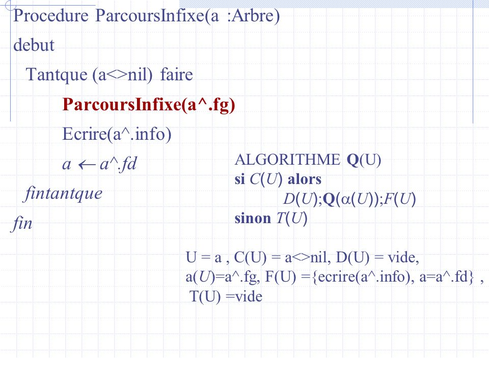 Procedure ParcoursInfixe(a :Arbre) debut Tantque (a<>nil) faire