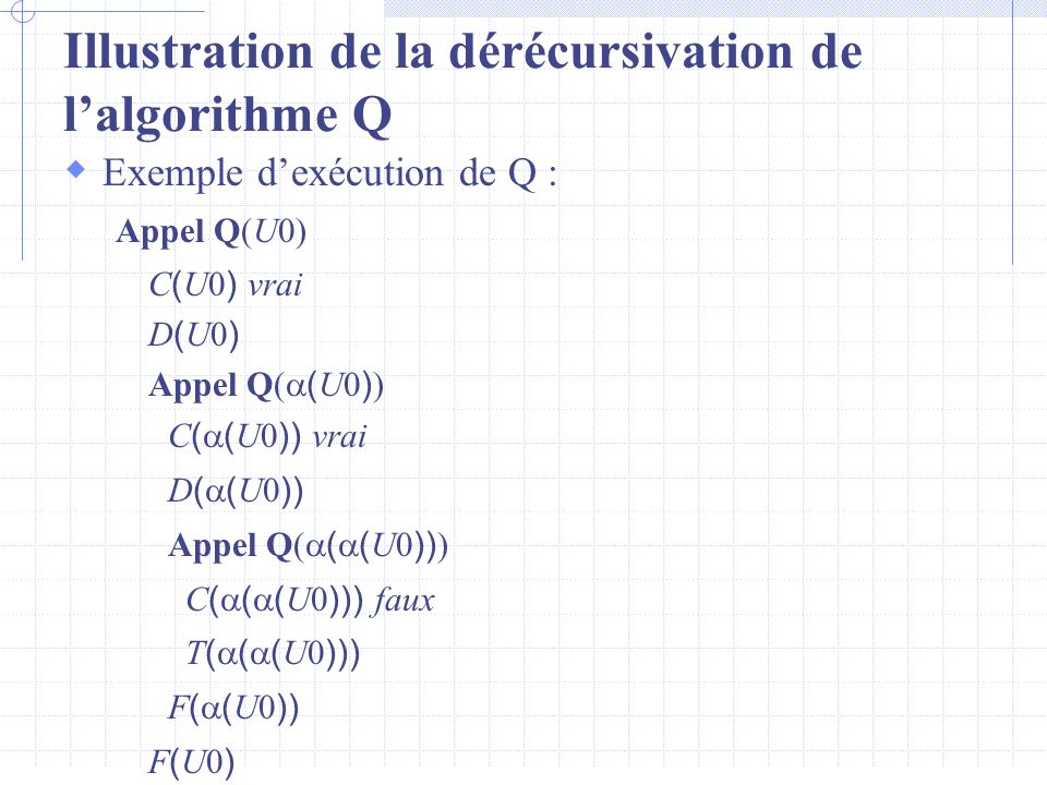 Illustration de la dérécursivation de l'algorithme Q