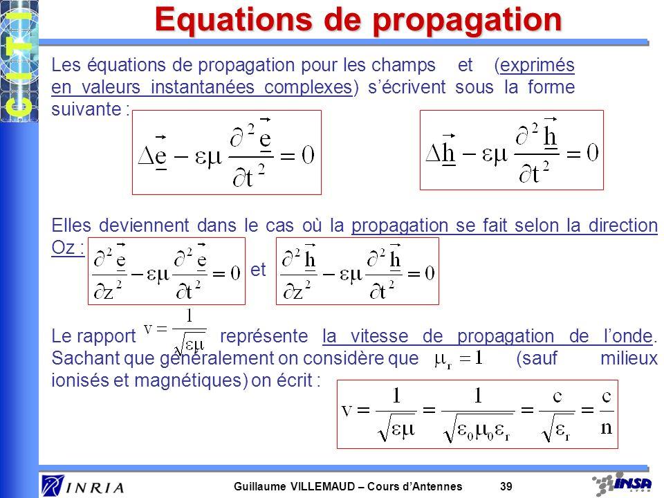 Equations de Maxwell Dans le cas de milieux homogènes et isotropes on obtient les équations suivantes :
