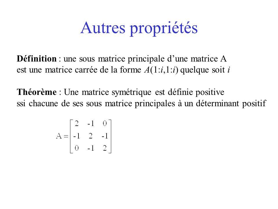 Autres propriétés Définition : une sous matrice principale d'une matrice A. est une matrice carrée de la forme A(1:i,1:i) quelque soit i.