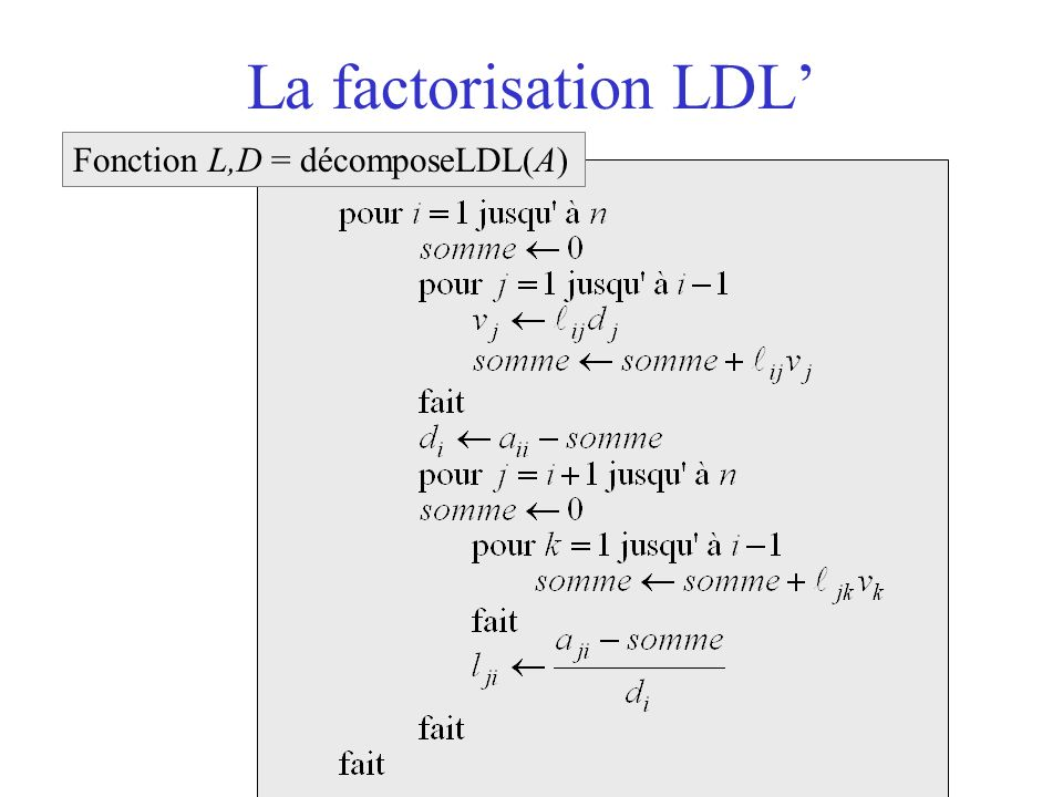 La factorisation LDL' Fonction L,D = décomposeLDL(A)