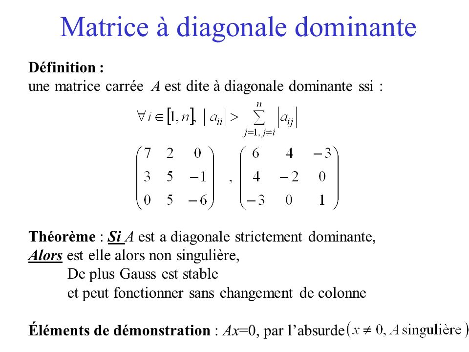 Matrice à diagonale dominante
