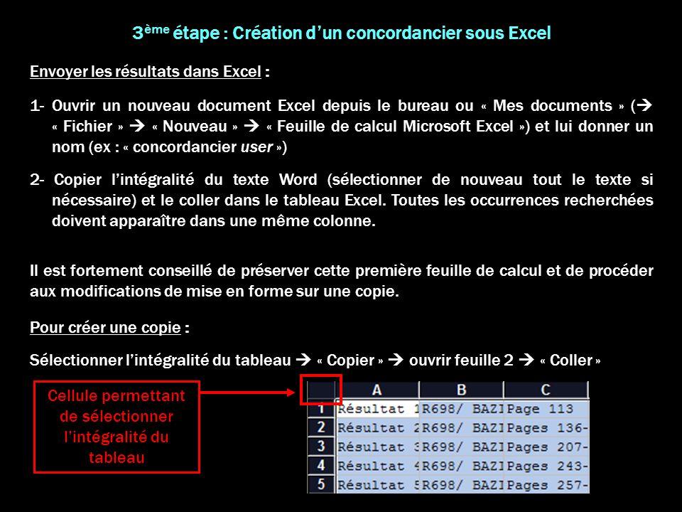 3ème étape : Création d'un concordancier sous Excel