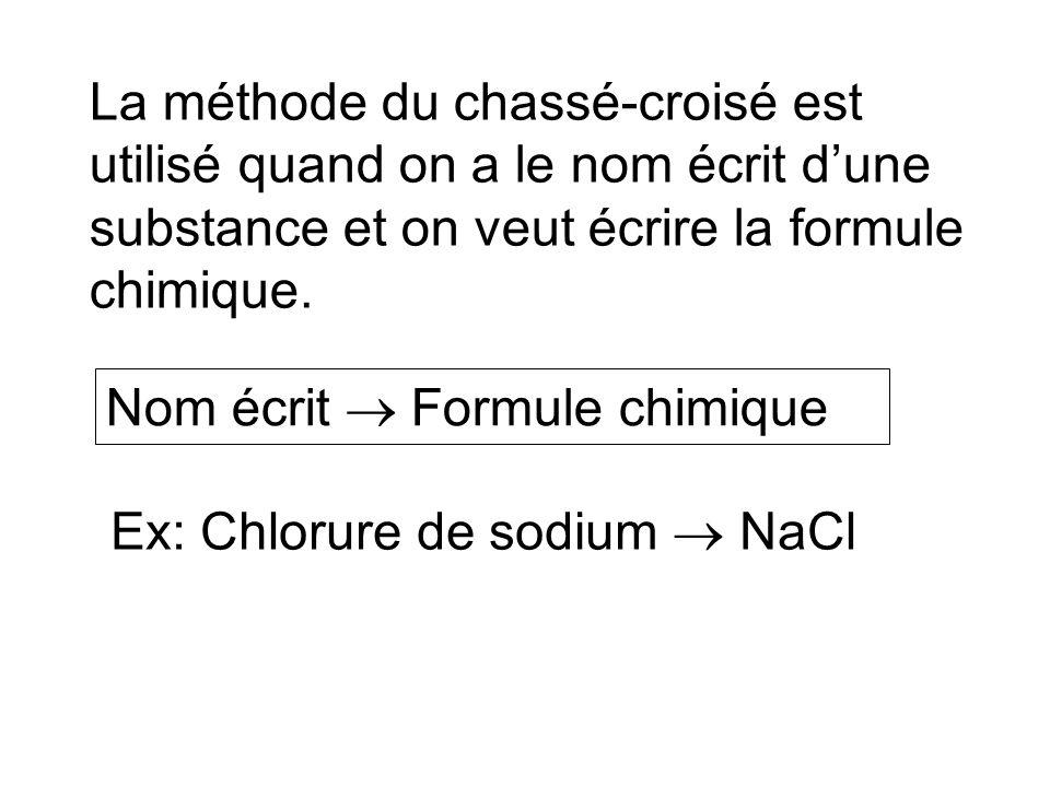 La méthode du chassé-croisé est utilisé quand on a le nom écrit d'une substance et on veut écrire la formule chimique.