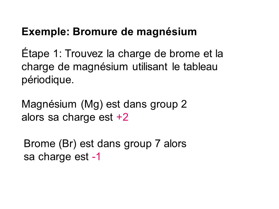 Exemple: Bromure de magnésium