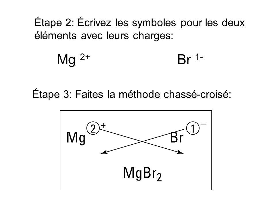 Étape 2: Écrivez les symboles pour les deux éléments avec leurs charges: