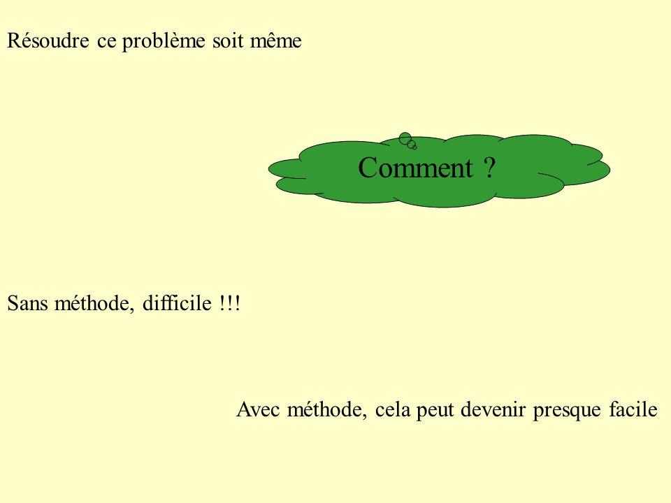 Comment Résoudre ce problème soit même Sans méthode, difficile !!!