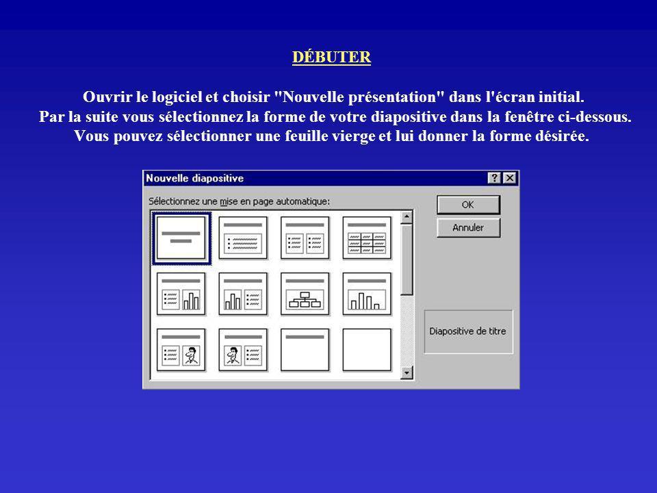 DÉBUTER Ouvrir le logiciel et choisir Nouvelle présentation dans l écran initial.