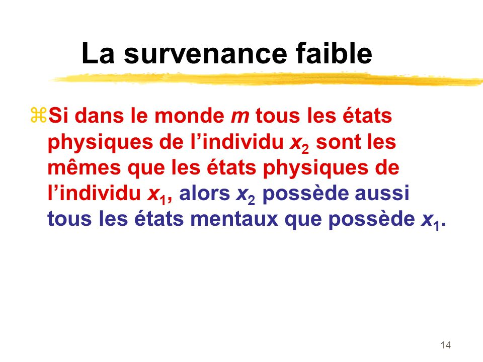 La survenance faible