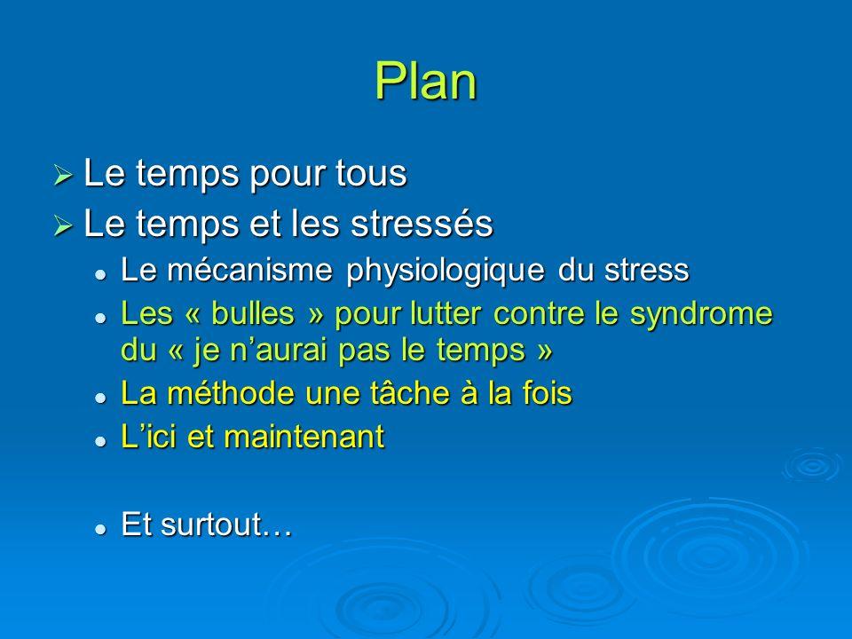 Plan Le temps pour tous Le temps et les stressés