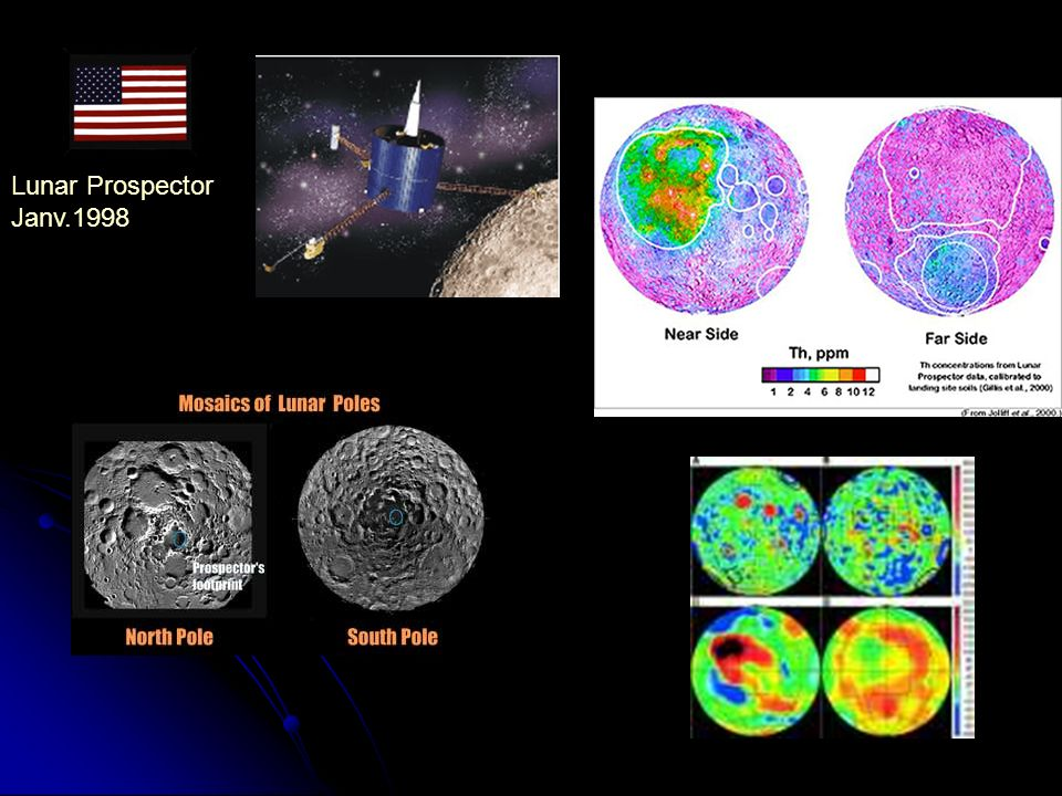 Lunar Prospector Janv.1998. Nouvelles puissances spatiales asiatiques -> relance conquête lunaire SATELLITES.