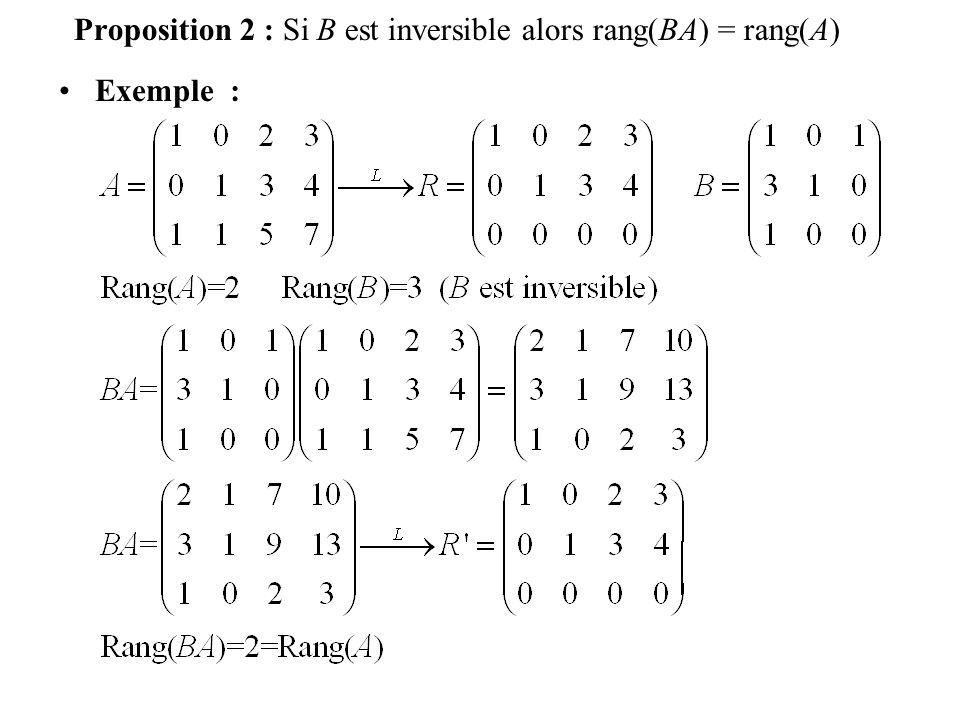 Proposition 2 : Si B est inversible alors rang(BA) = rang(A)