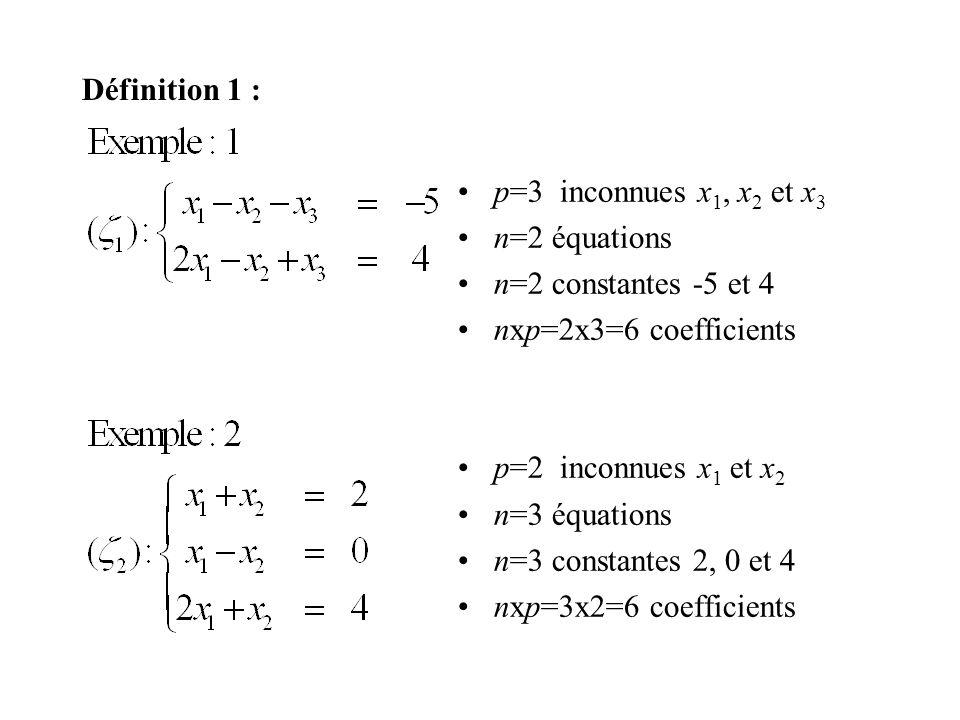 Définition 1 : p=3 inconnues x1, x2 et x3. n=2 équations. n=2 constantes -5 et 4. nxp=2x3=6 coefficients.