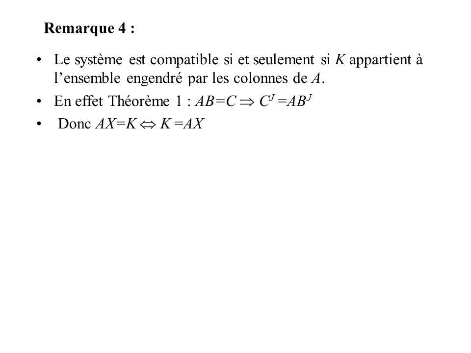 Remarque 4 : Le système est compatible si et seulement si K appartient à l'ensemble engendré par les colonnes de A.