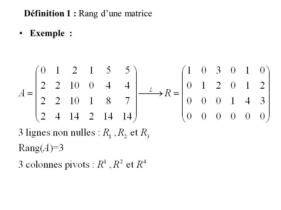Définition 1 : Rang d'une matrice