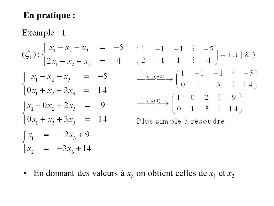 En pratique : En donnant des valeurs à x3 on obtient celles de x1 et x2