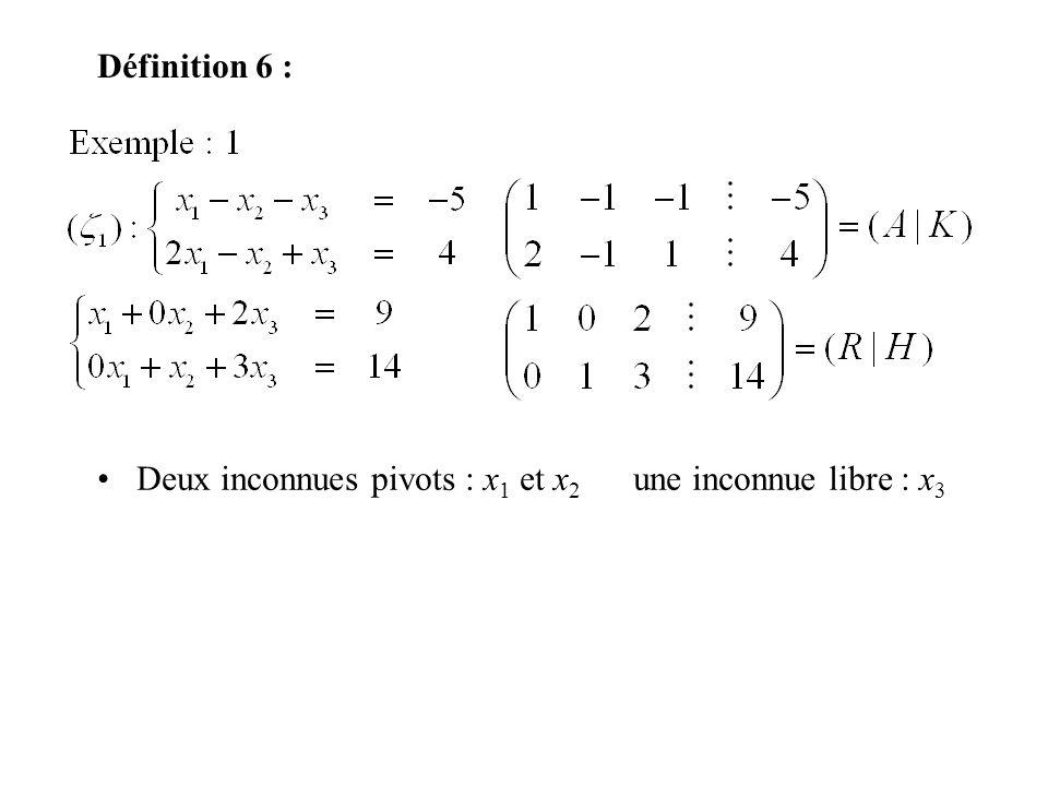 Définition 6 : Deux inconnues pivots : x1 et x2 une inconnue libre : x3
