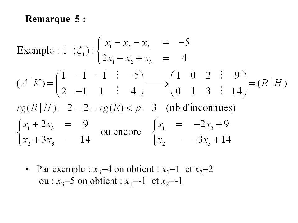 Remarque 5 : Par exemple : x3=4 on obtient : x1=1 et x2=2 ou : x3=5 on obtient : x1=-1 et x2=-1
