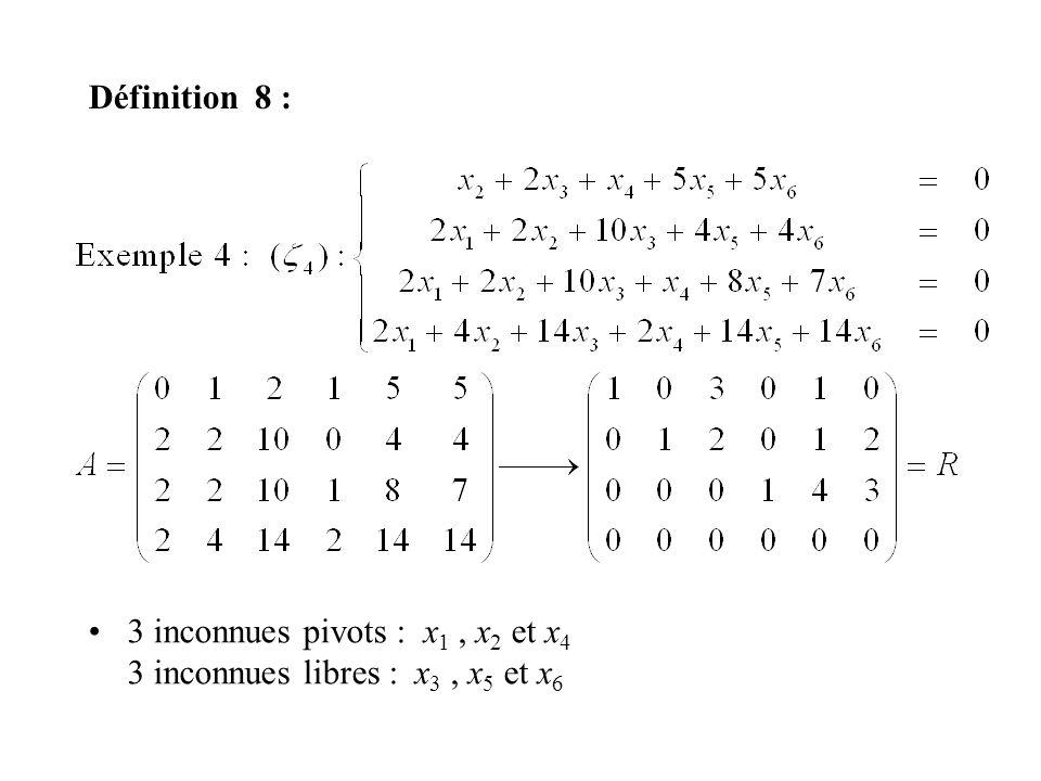 Définition 8 : 3 inconnues pivots : x1 , x2 et x4 3 inconnues libres : x3 , x5 et x6