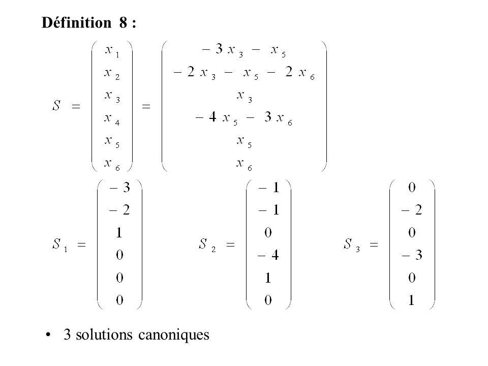 Définition 8 : 3 solutions canoniques