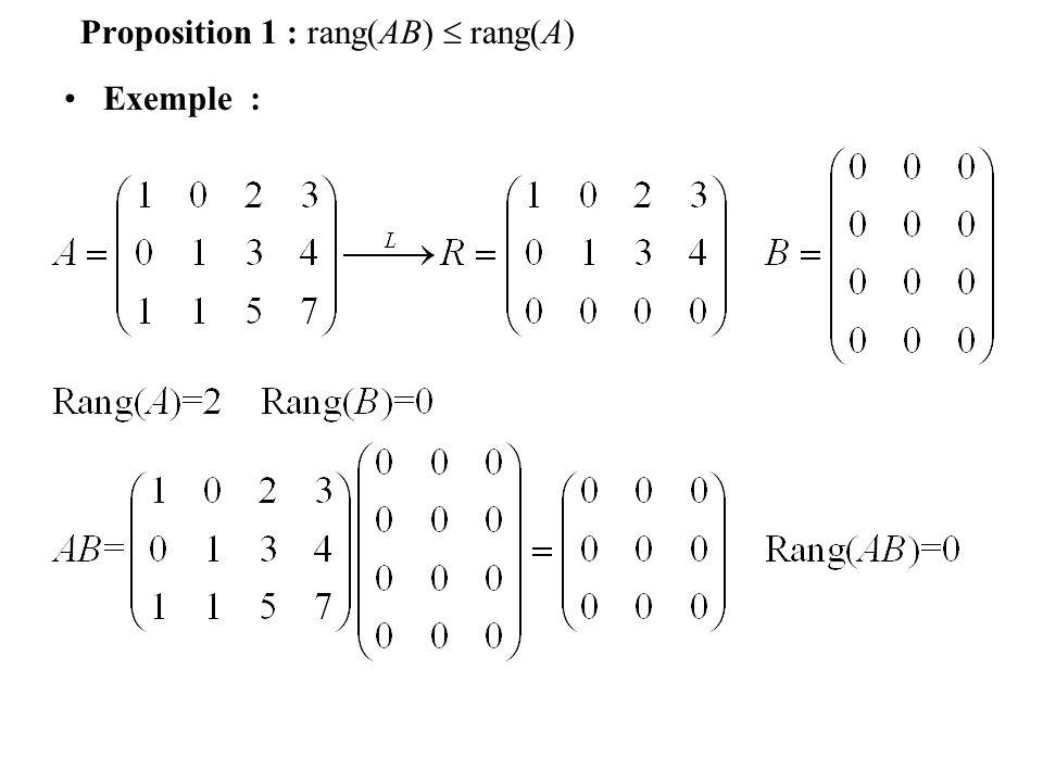 Proposition 1 : rang(AB)  rang(A)
