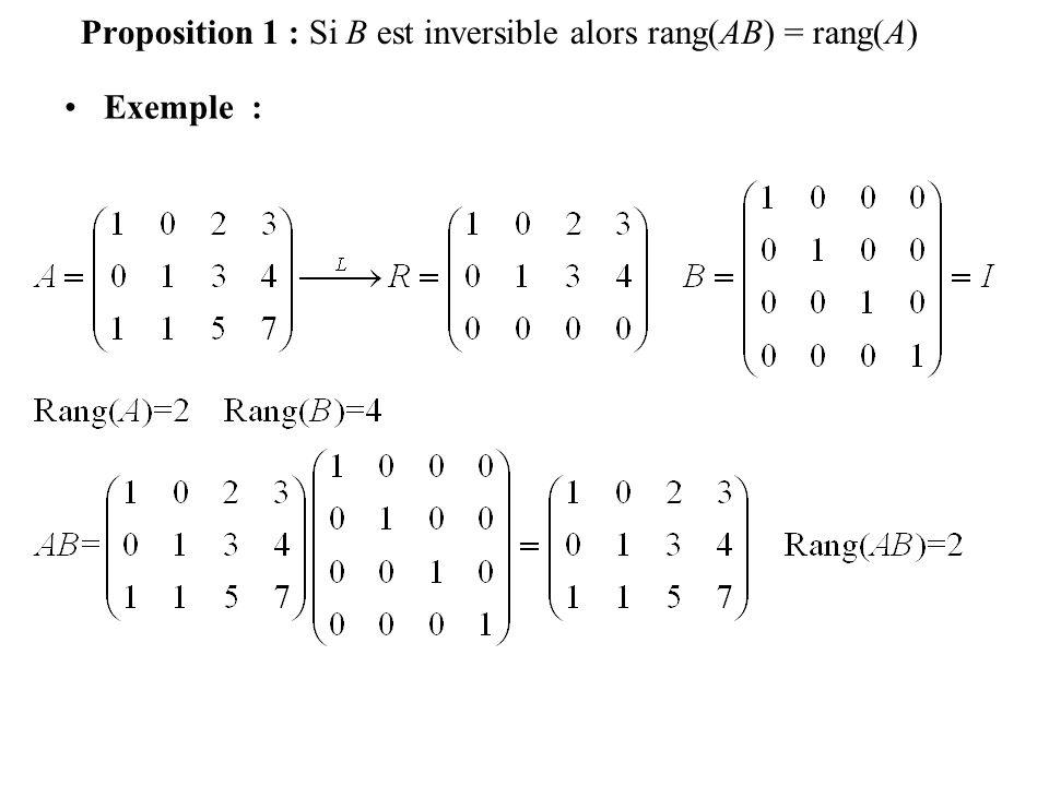 Proposition 1 : Si B est inversible alors rang(AB) = rang(A)