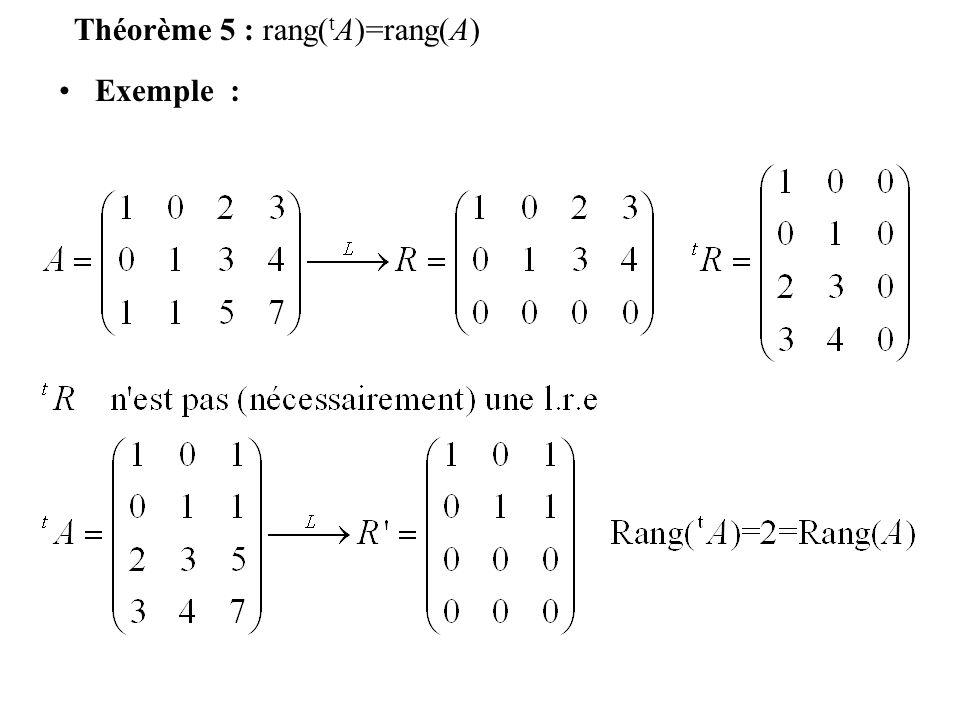 Théorème 5 : rang(tA)=rang(A)