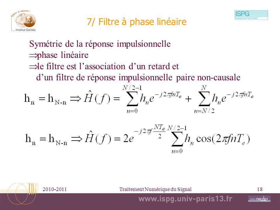 7/ Filtre à phase linéaire