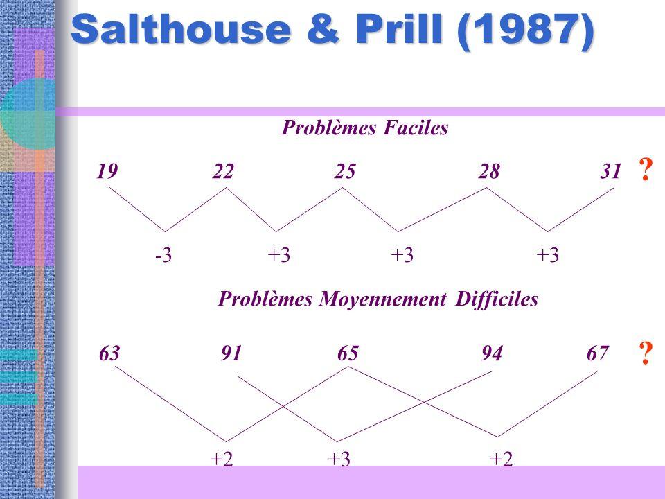 Salthouse & Prill (1987) Problèmes Faciles 19 22 25 28 31