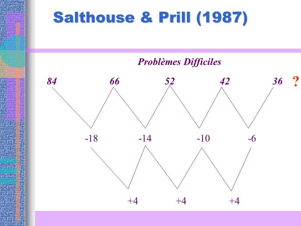 Salthouse & Prill (1987) Problèmes Difficiles 84 66 52 42 36