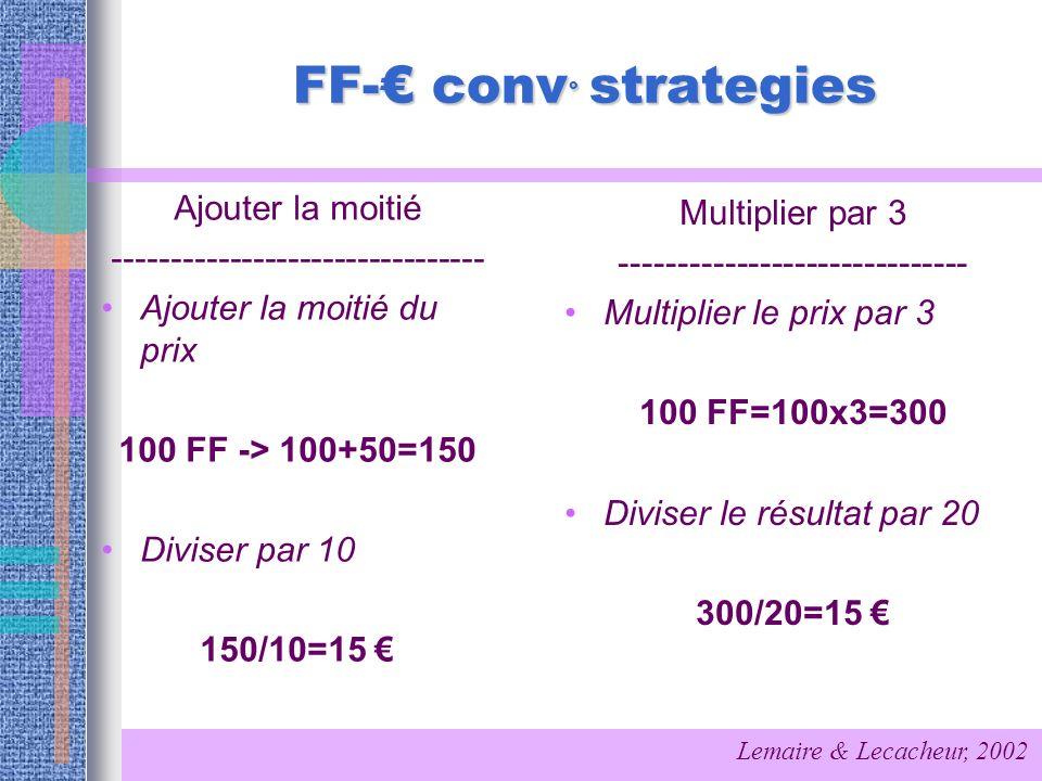 FF-€ conv° strategies Ajouter la moitié Multiplier par 3