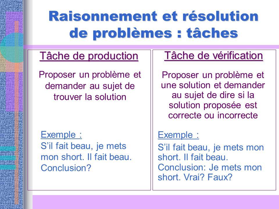 Raisonnement et résolution de problèmes : tâches