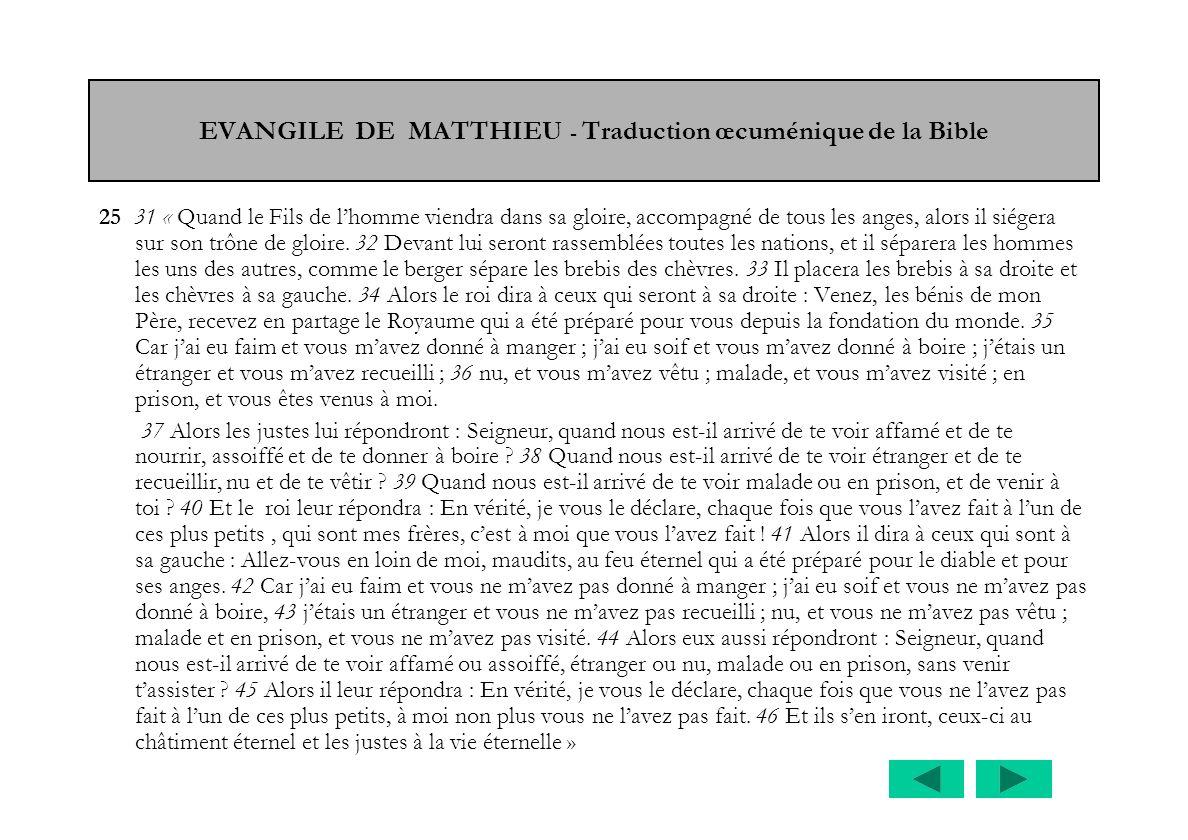 EVANGILE DE MATTHIEU - Traduction œcuménique de la Bible