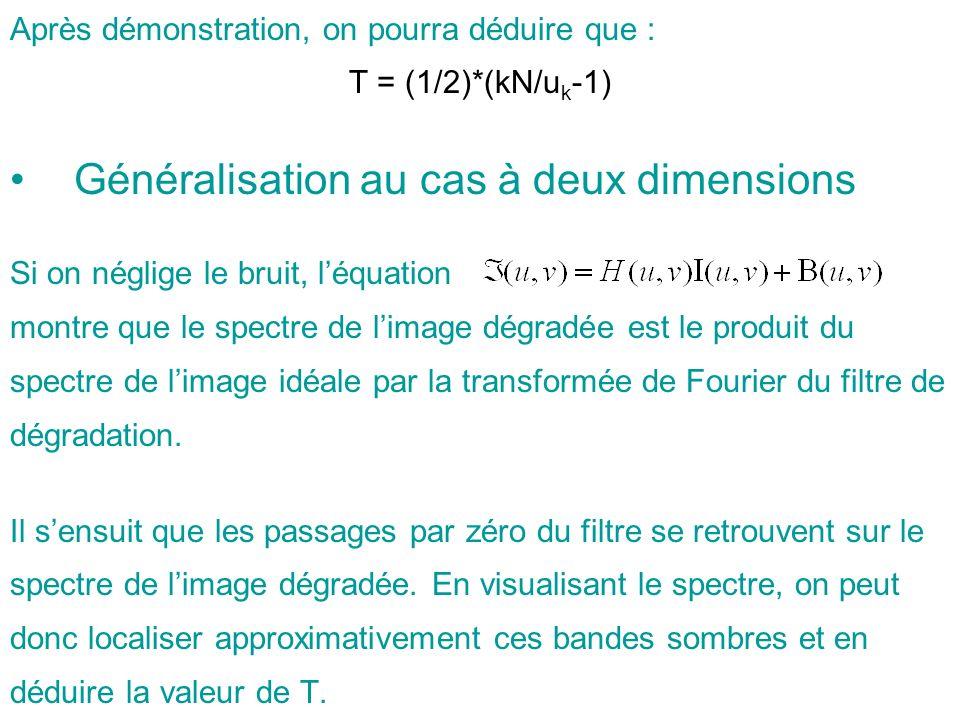 Généralisation au cas à deux dimensions