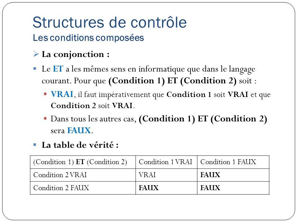 Structures de contrôle Les conditions composées
