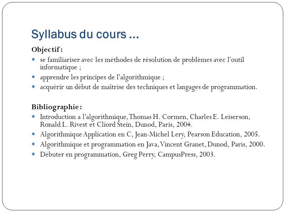Syllabus du cours ... Objectif :
