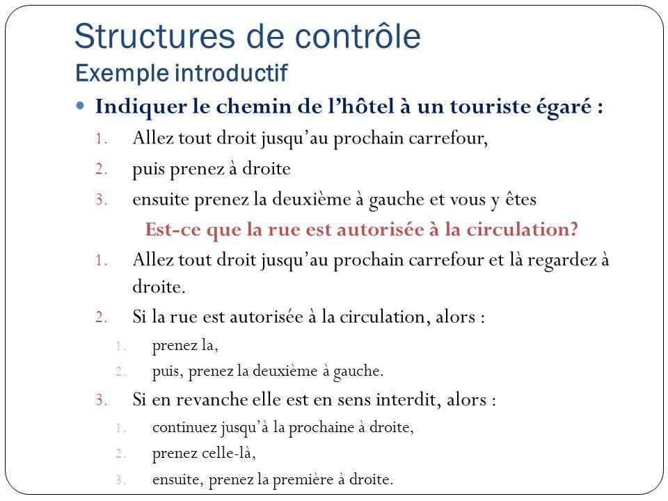 Structures de contrôle Exemple introductif
