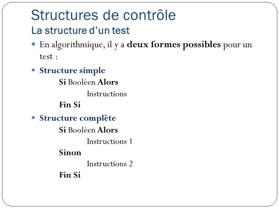 Structures de contrôle La structure d'un test