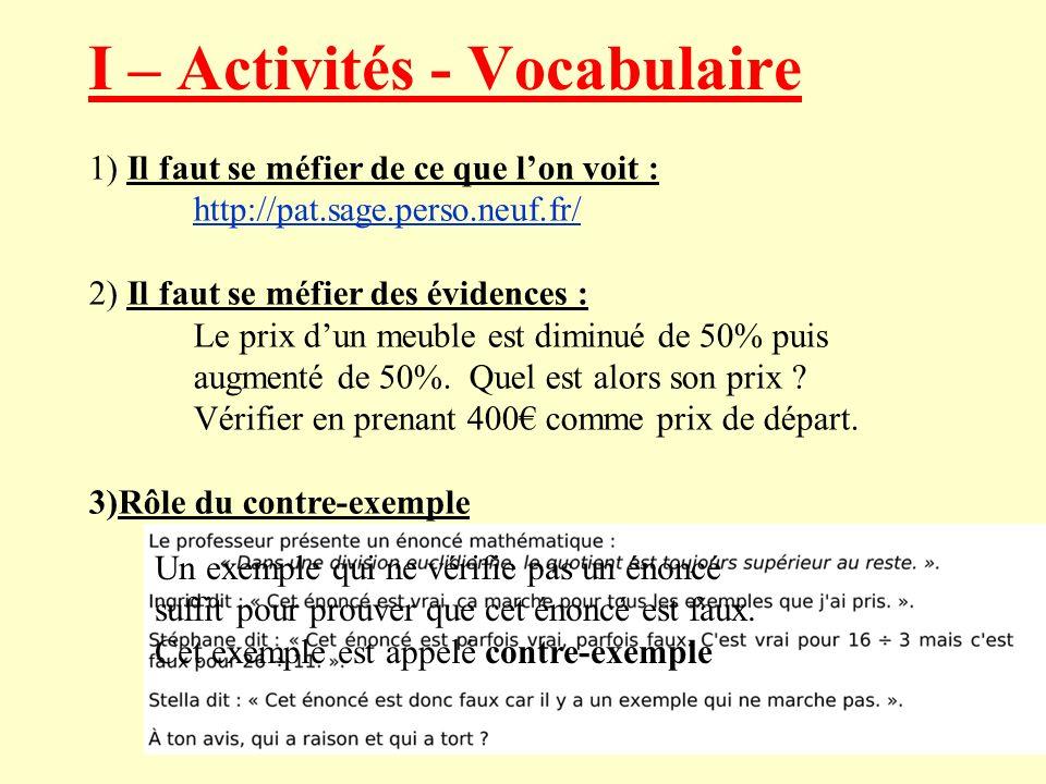 I – Activités - Vocabulaire