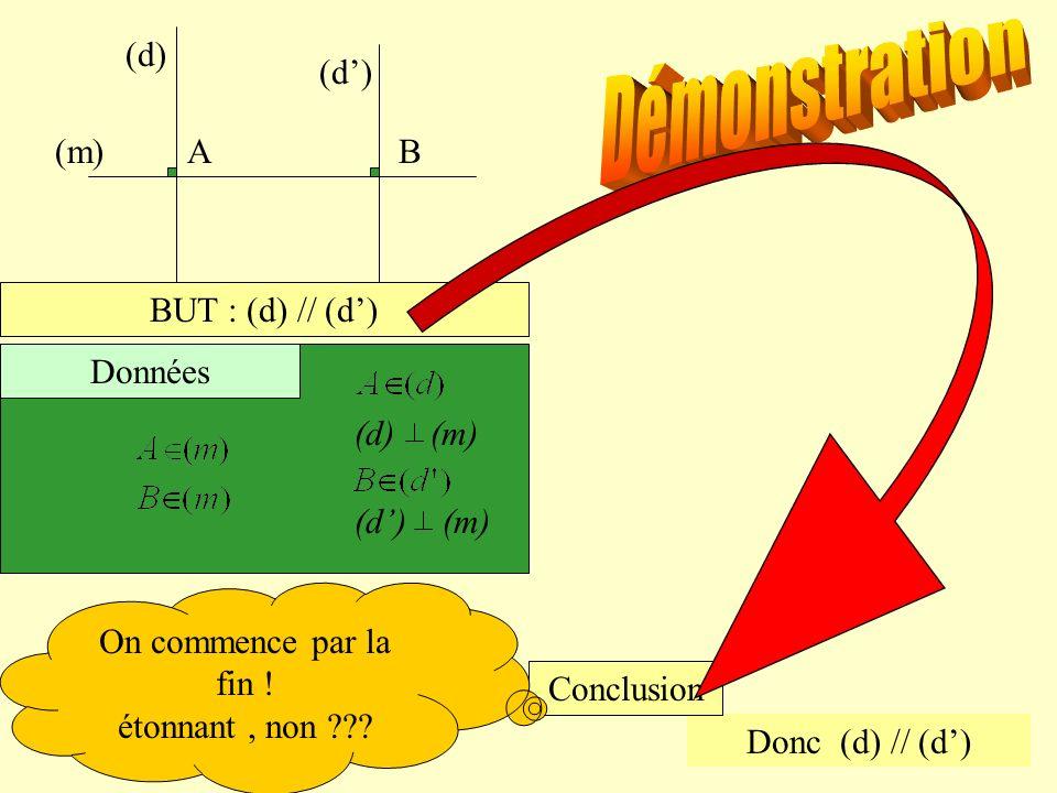 Démonstration (m) A B (d) (d') BUT : (d) // (d') (d) (m) (d') (m)