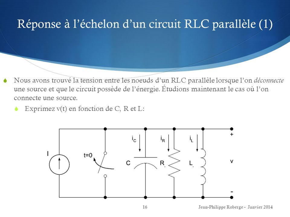 Réponse à l'échelon d'un circuit RLC parallèle (1)