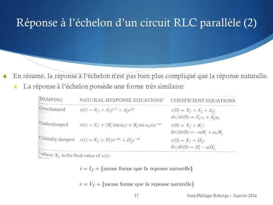Réponse à l'échelon d'un circuit RLC parallèle (2)