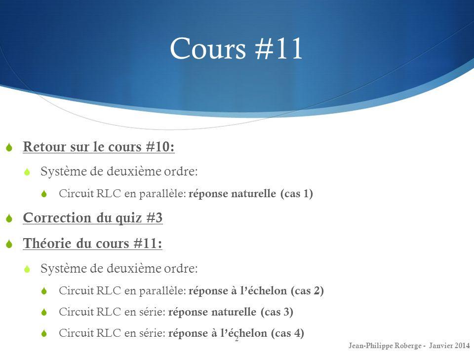 Cours #11 Retour sur le cours #10: Correction du quiz #3