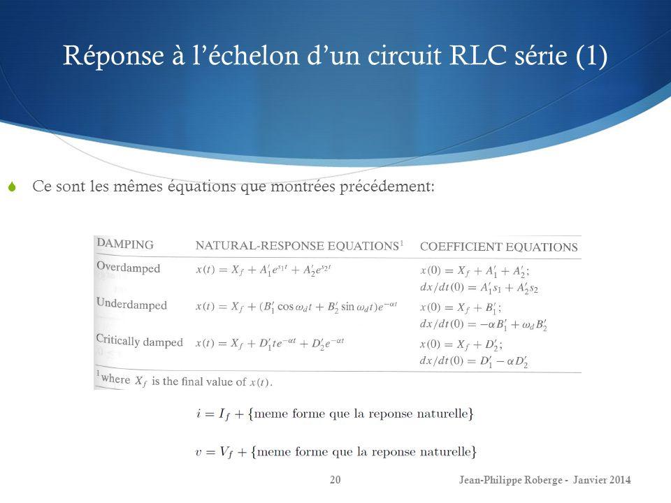 Réponse à l'échelon d'un circuit RLC série (1)