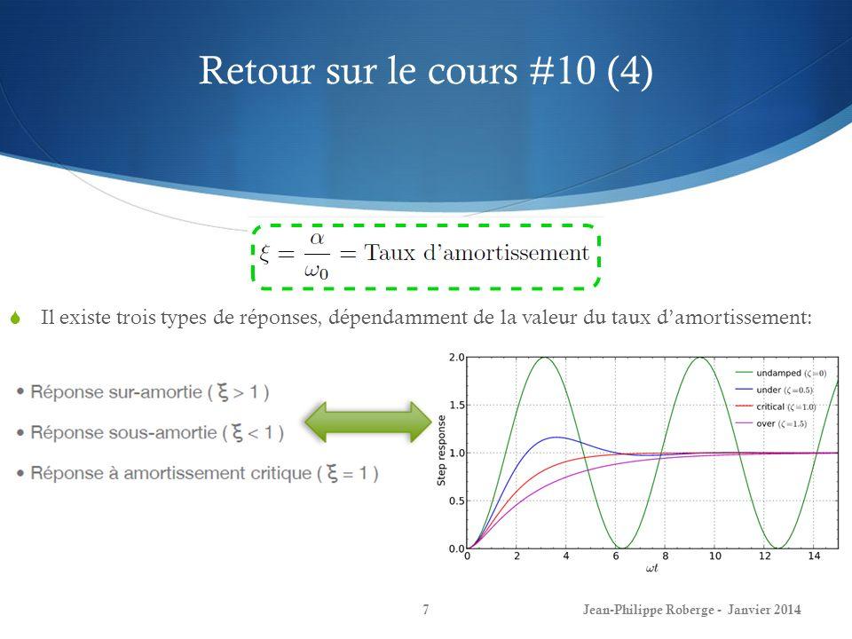 Retour sur le cours #10 (4) Il existe trois types de réponses, dépendamment de la valeur du taux d'amortissement: